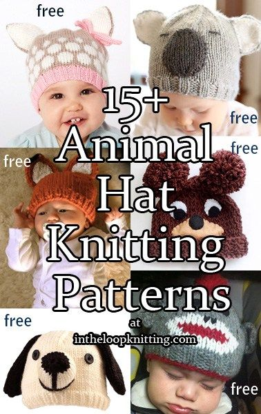 de2ae517bb6 Knitting patterns for Baby Animal Hats. Most patterns are free