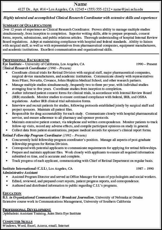 Clinical Research Coordinator Cover Letter ~ metroproper