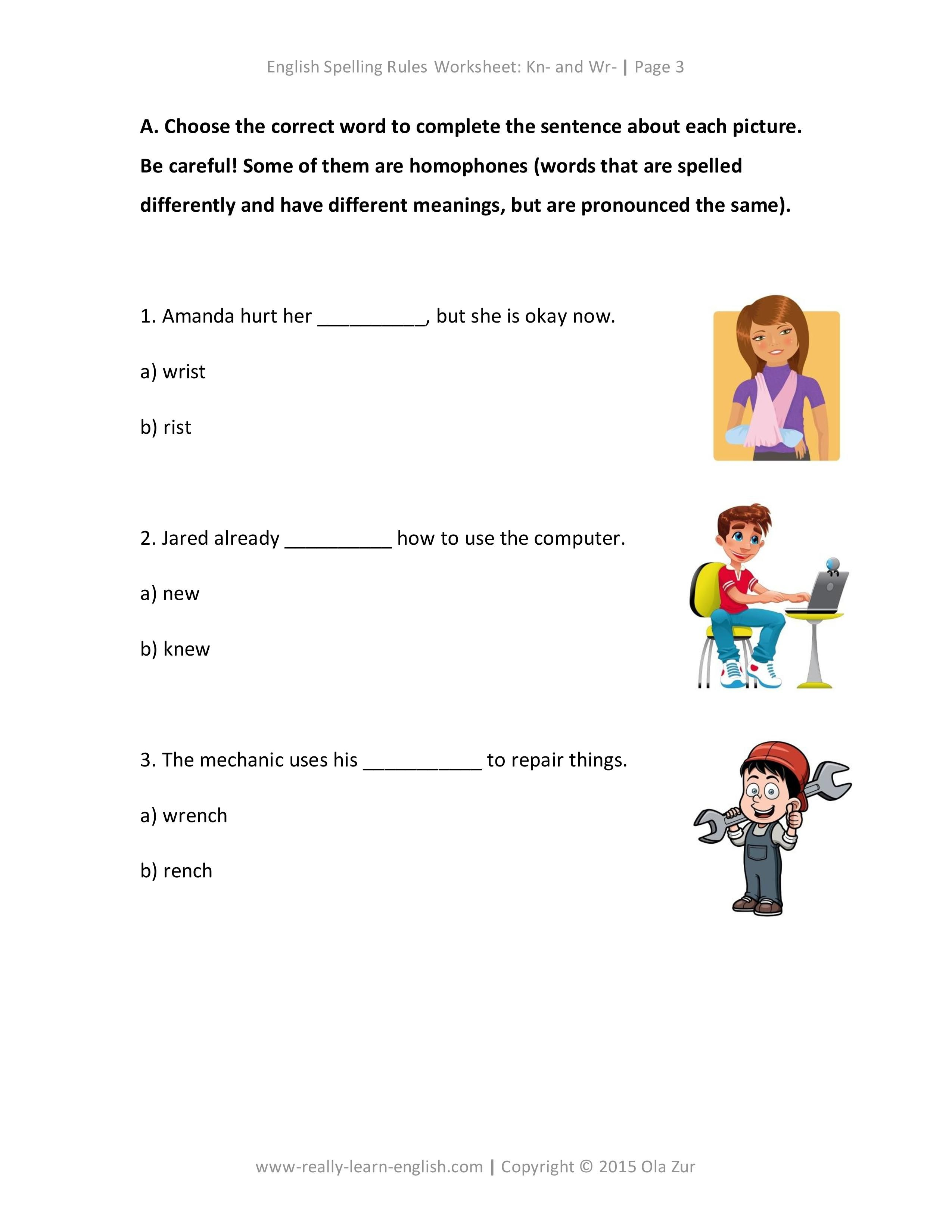 worksheet Silent W Words Worksheets the complete list of english spelling rules lesson 3 kn and wr at beginning words examples worksheet ans