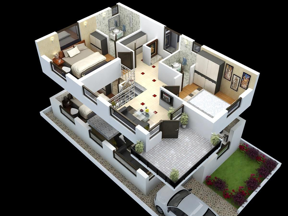 Cut Model Of Duplex House Plan