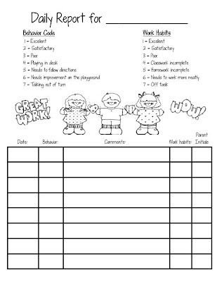 Behavior Chart  Second Grade    Behaviour Chart Free