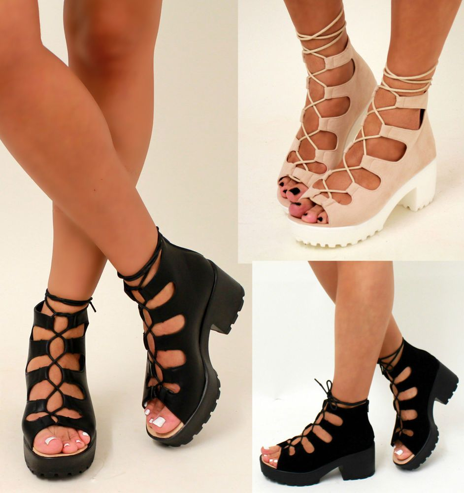 New Platform Chunky Mid Heel Peep Toe Suede Platform Lace Up Ankle ...