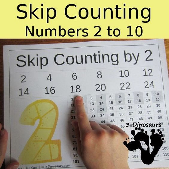 In these FREE Skip Counting Printables from 3 Dinosaurs you will find:  	Number 2 to 10 	Skip Counting with 100 Chart Fille