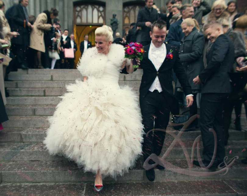 destination wedding Helsinki- gorgeous bride, fab bridal gown and super glam shoes! (yes, also super stylish groom!)