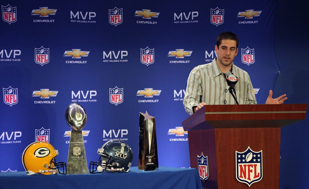 Aaron Rodgers Photos Photos Super Bowl Xlv Mvp And Winning Head Coach Press Conference Superbowl Xlv Aaron Rodgers Super Bowl