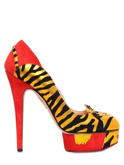 65036986b Charlotte Olympia 145mm Ninivah Suede Tiger Pumps on shopstyle.com ...