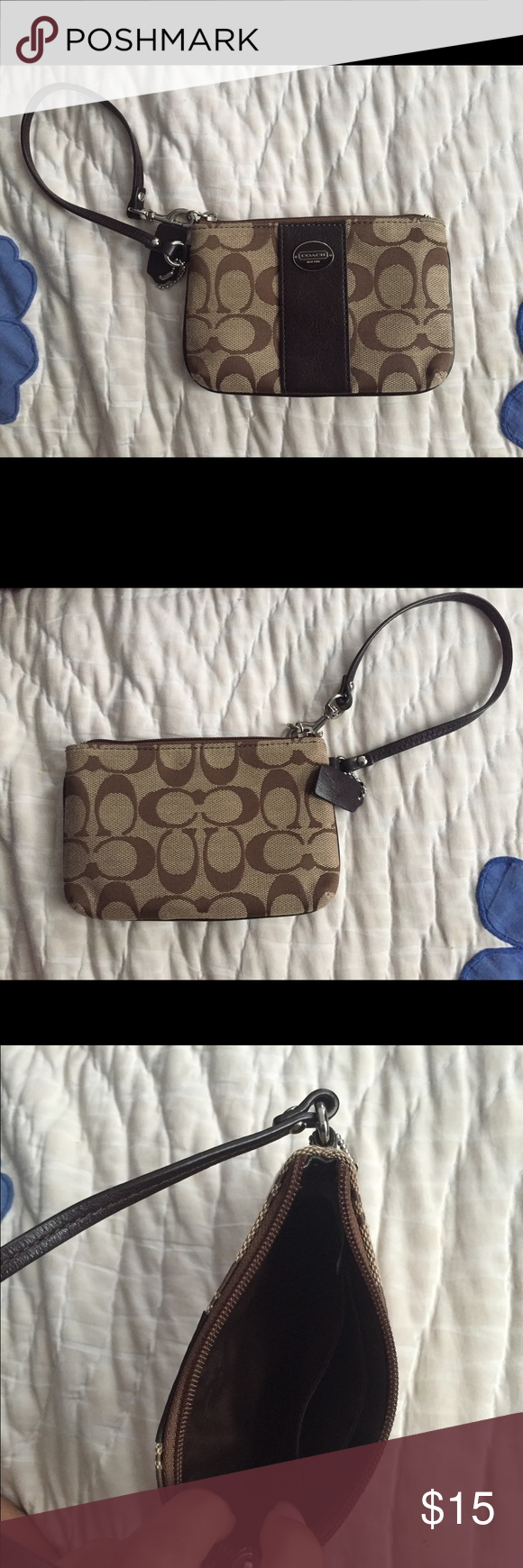 Coach wristlet Small wristlet with two slots for cards. Never used, great condition. Coach Bags Clutches & Wristlets