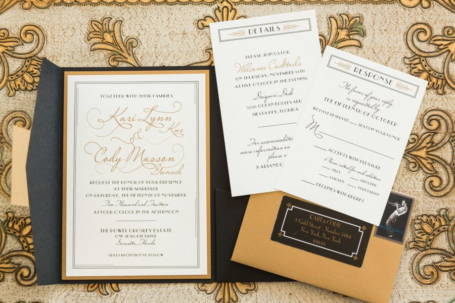 Deco Wedding Invitation Suite - Black and Gold - Dana Marino Design - danamarinodesign.com  Photography: Justin DeMutiis Photography - justindemutiisphotography.com   Read More on SMP: http://www.stylemepretty.com/2015/04/08/hint-of-glamour-crosley-estate-wedding/
