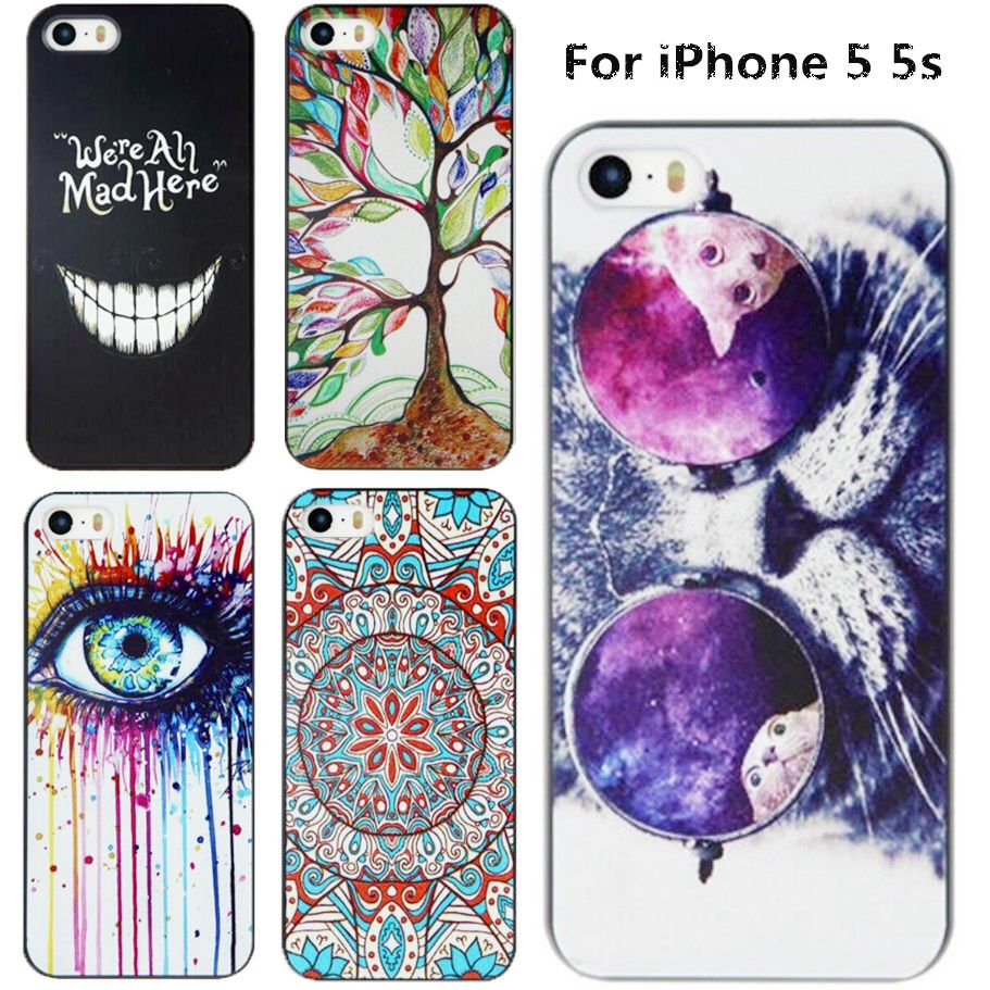 Embossment Effect Luxury Painting Case For Apple iPhone 5s Cover iPhone5 Cases Hard Back Cover For iPhone 5 SE Free Shipping