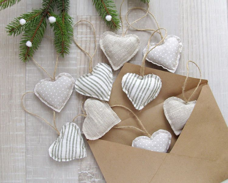 Linen Hearts Ornament Scandinavian Style Decor Valentines Day Gift Christmas Home Decor Rustic Hearts Ornaments Wedding Love Decoration Heart Christmas Ornaments Heart Ornament Valentine Decorations