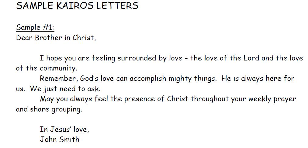 An example of a Kairos letter. Each participant receives a bag ...