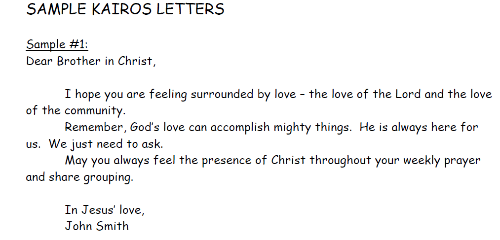 An example of a Kairos letter  Each participant receives a bag full