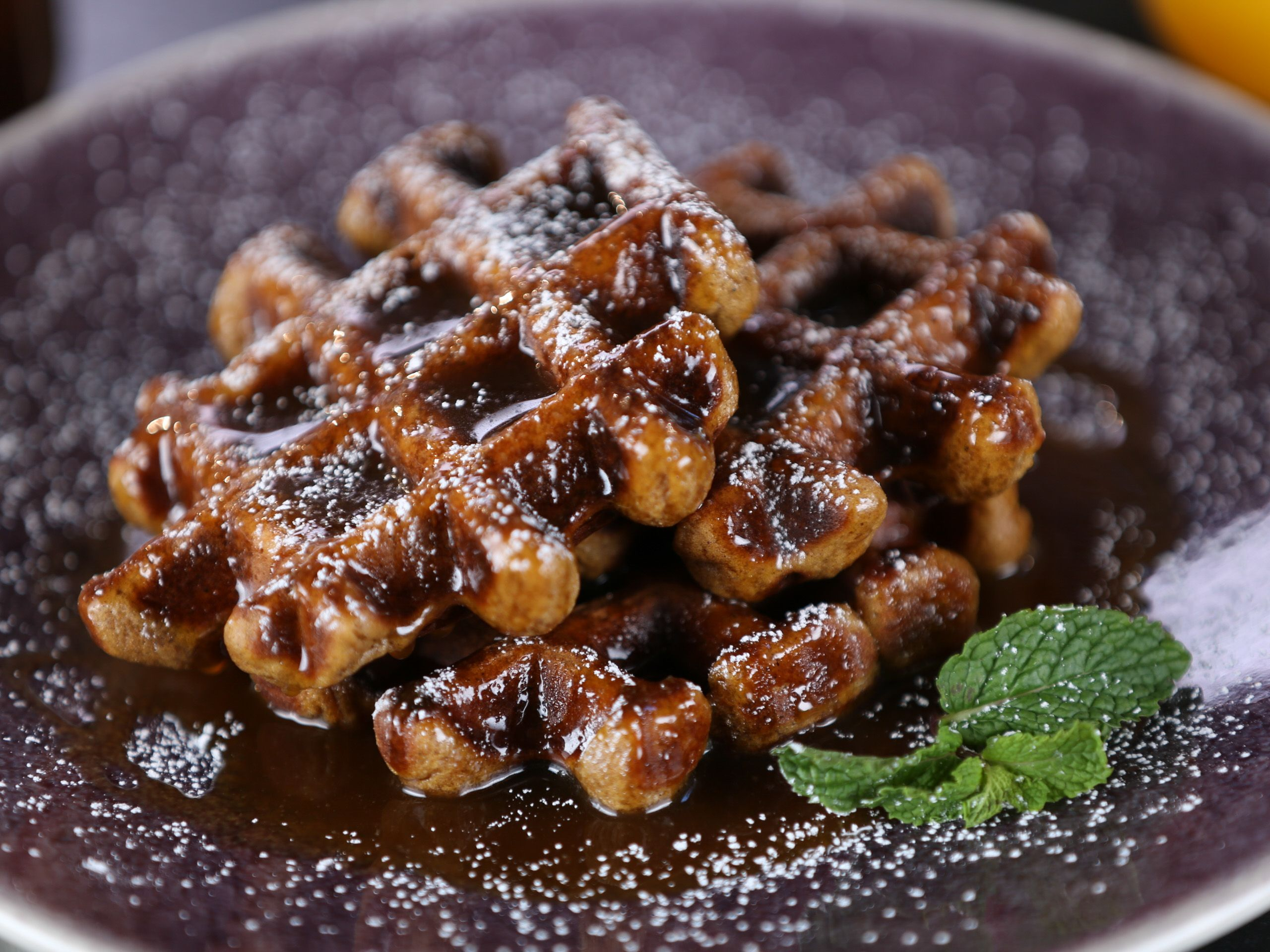 Gingerbread Pumpkin Waffles With Buttermilk Rum Caramel Syrup Recipe Pumpkin Waffles Food Network Recipes Waffles