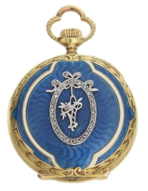 Yellow Gold, Diamond and Blue Enamel Pocket Watch, late 1800's