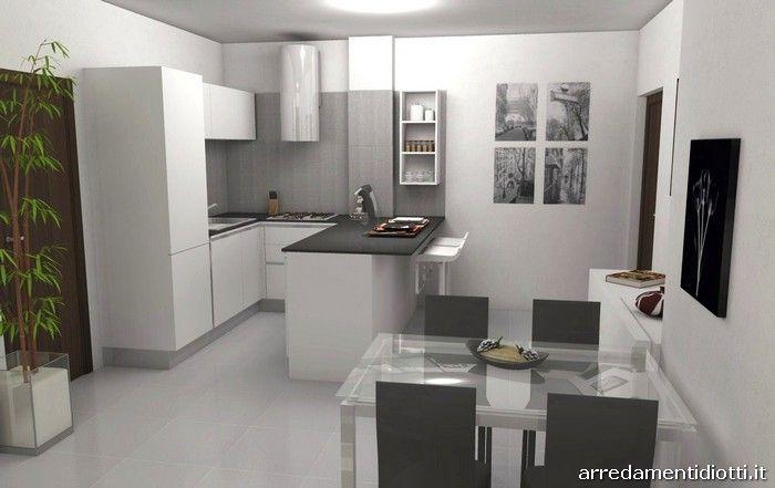 Cucina domus con penisola e soggiorno logo diotti a f for Arredamenti per case piccole