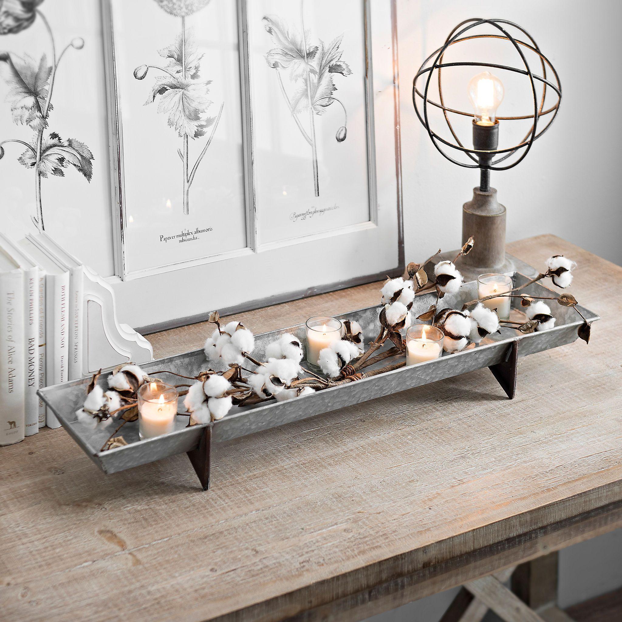 Long Galvanized Metal Decorative Tray | Decorative trays, Trays and ...