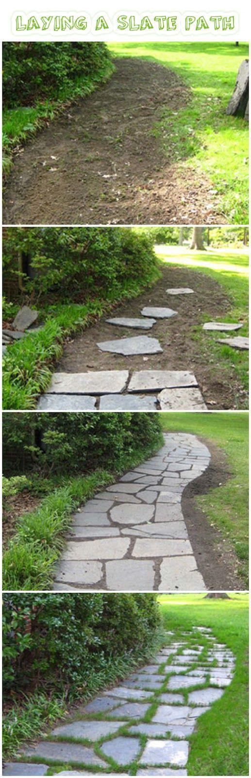 slate walkway landscaping