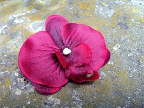 BARRETTE PINCE CLIP CHEVEUX ORCHIDEE bordeaux satin fleur artificielle