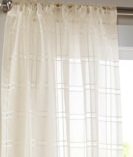 Windowpane Sheer Rod Pocket Curtains Pair Curtains Country