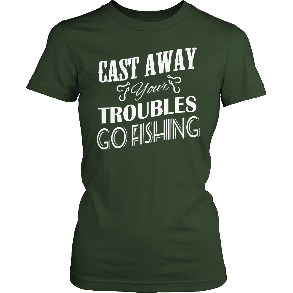 Fishing Cast Away Troubles Ladies Tee