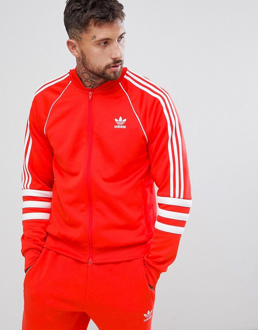 21e6af499fea4 ADIDAS ORIGINALS AUTHENTIC SUPERSTAR TRACK JACKET IN RED DJ2858 - RED