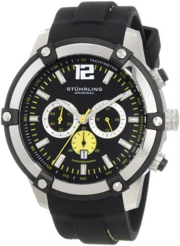 Stuhrling Original Men's 268.332D61 Champion Victory Quartz Chronograph Date Silver Tone Case Black Rubber Strap Watch Stuhrling Original. $138.00. Black textured dial with chronograph function and quick-set date complication. Stainless steel brushed finish case with high polished finish beveled bezel. Decorated screw-down case back with protective krysterna crystal on front. Water-resistant to 100 M (330 feet). Black high grade silicon rubber strap with yellow ...
