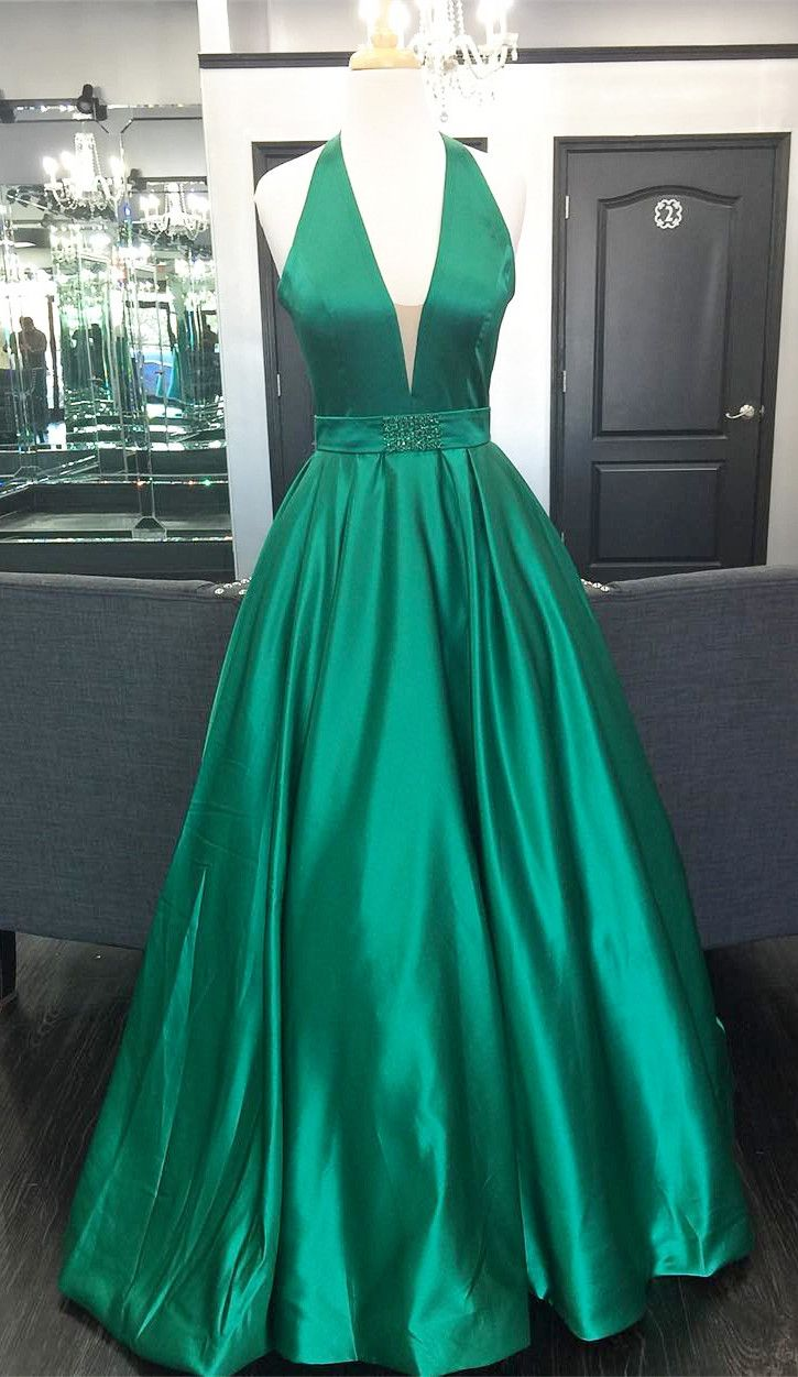Halter V Neck Green Long Prom Dress with Open Back from ...