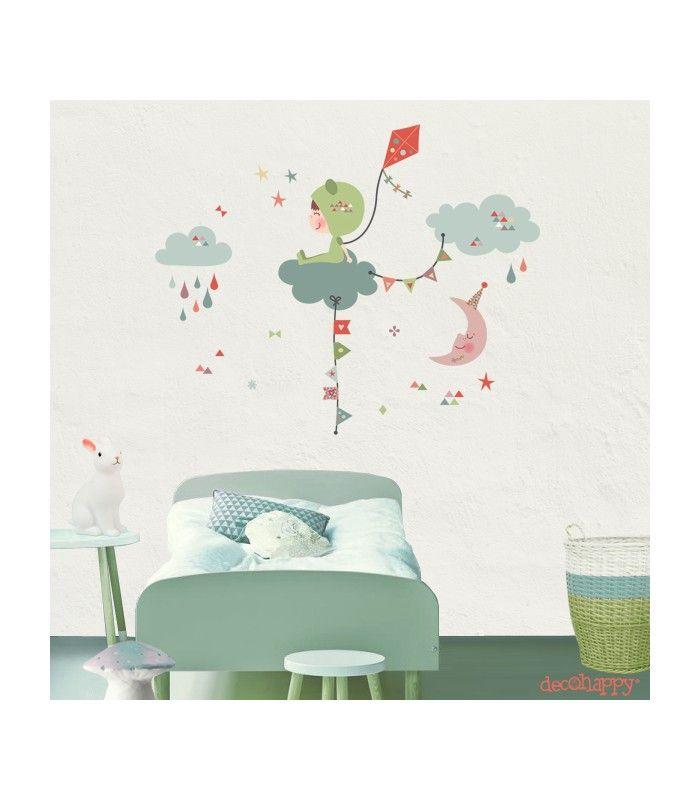 Vinilo infantil de tela entre las nubes imagine para decorar el ...