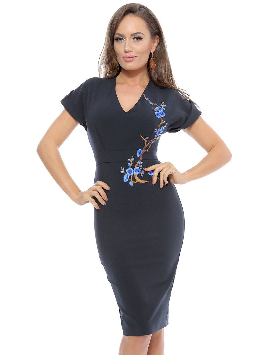Adorewe stylewe roserry navy blue floral embroidered short sleeve