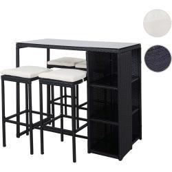 Photo of Poly rattan bar set Hwc-a28, jardín bar lounge bar asientos antracita '4 taburetes, cojín crema Mendle