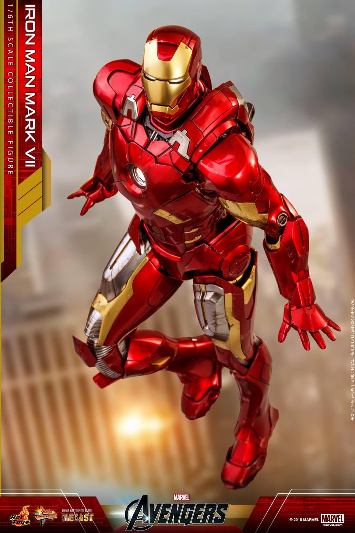 Hot Toys The Avengers Iron Man MARK VII Figure 1//6 TONY STARK HEAD