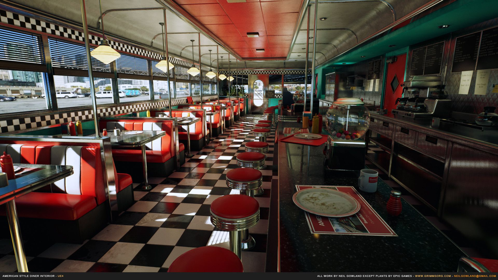 Artstation American Style Diner Interior Neil Gowland American Diner Diner Retro Diner