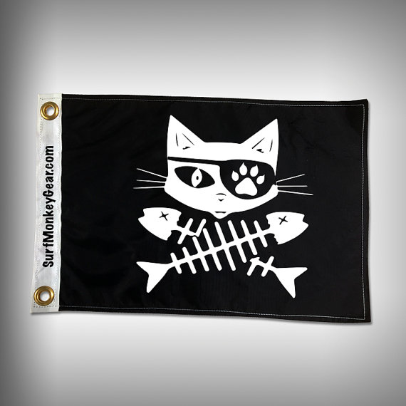 Cat Pirate Flag Custom Flag Marine Flag Boat Flag Etsy Boat Flags Pirate Flag Marine Flag
