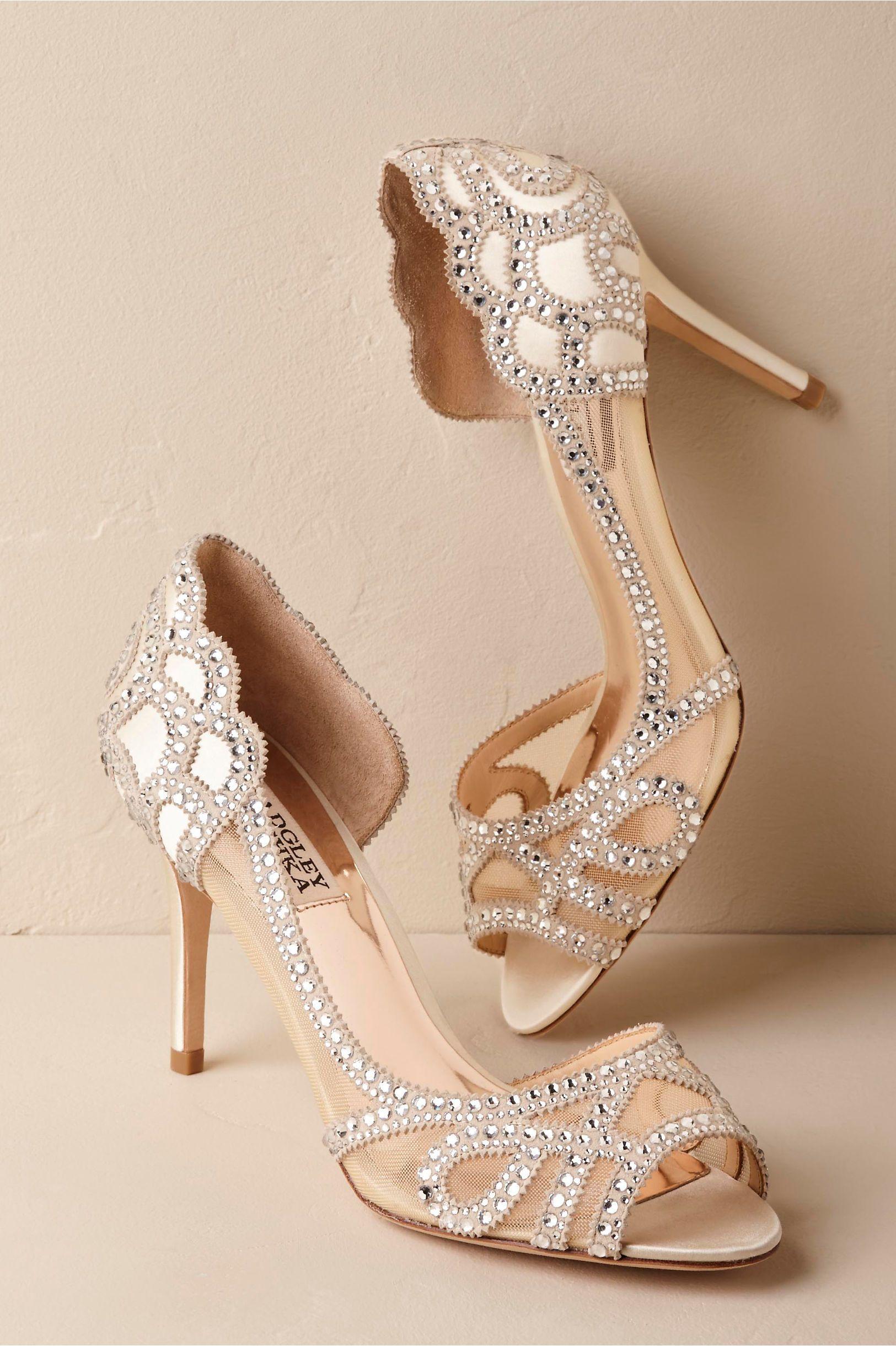 7b870c113f59 BHLDN s Badgley Mischka Badgley Mischka Marla Peep-Toe Heels in Ivory