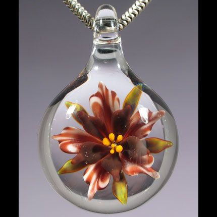 Lampwork Glass Flower Pendant Necklace Focal Bead Hand Blown Boro Glass Jewerly by Allisn Hill (10-182)