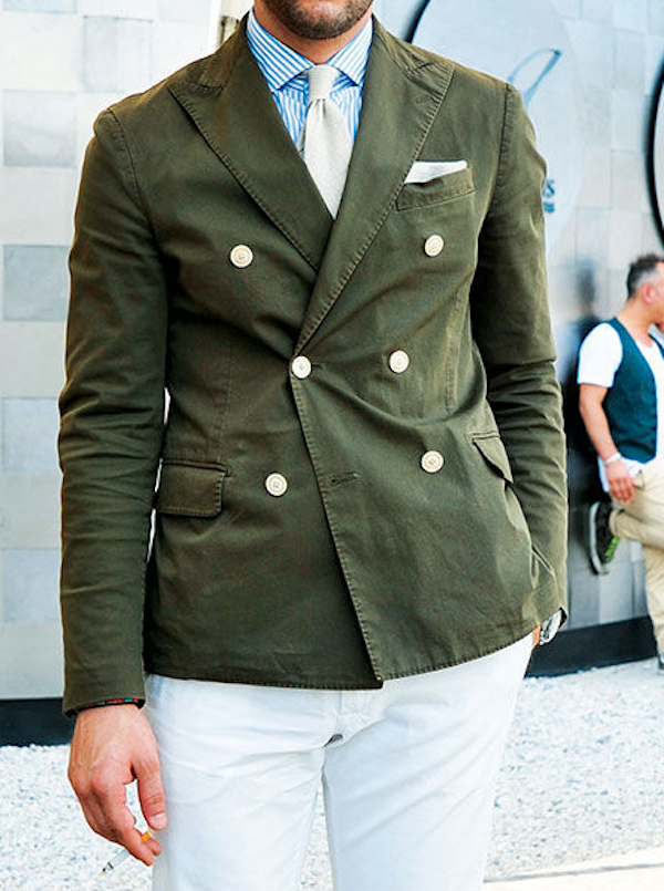 Green double-breasted sport coat. Don't like the white pants with ...