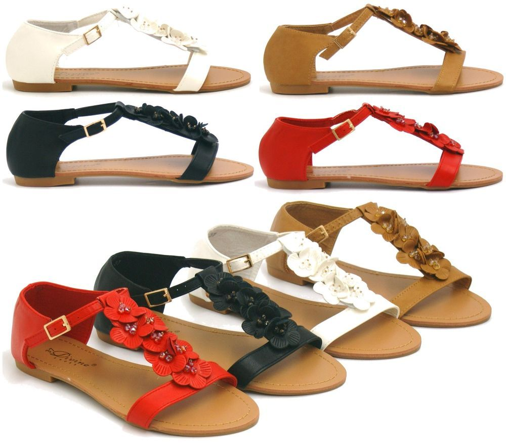 e335e21d09ba89 LADIES FLAT SANDALS WOMENS GIRLS SUMMER GLADIATOR FANCY BEACH STRAPPY SHOES  SIZE