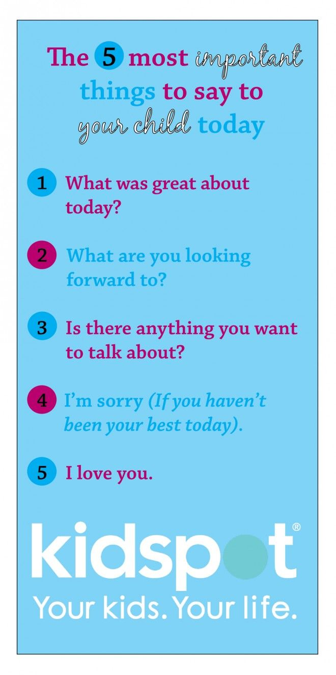 The five most important things to say to your child at bedtime