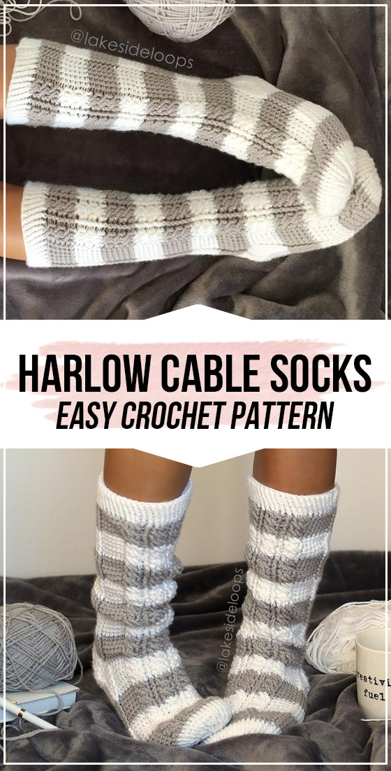 crochet Harlow Cable Socks pattern