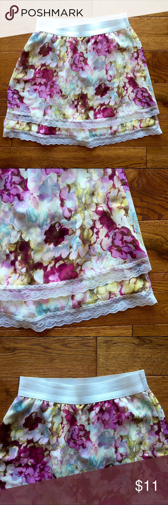 Flower Patterned Skirt • Pink flower patterns • Can be worn high waisted • Elastic waistband • Lace embroidered bottom • 18.5 inch length • Great condition • Barely worn • Lily White Skirts