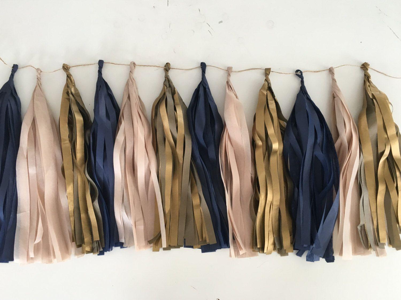 Tissue paper tassel garland in Navy Blue Antique Gold and Blush
