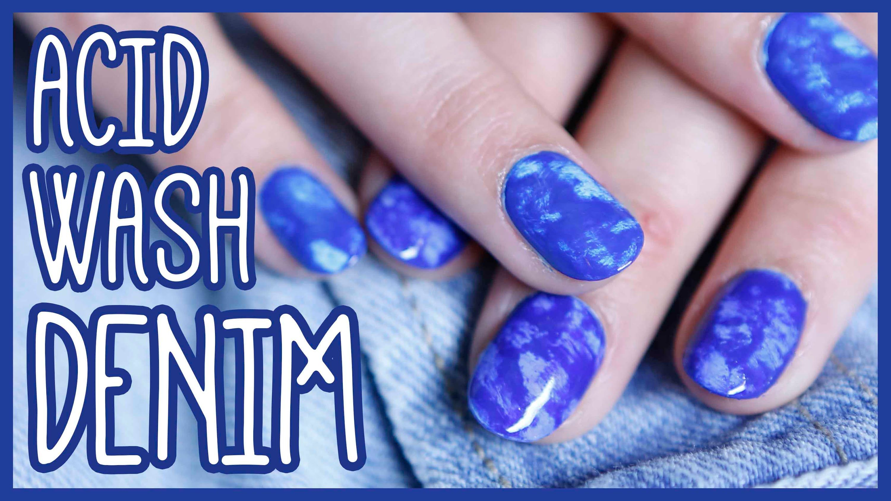 Acid Wash Denim Nail Art Tutorial for Beginners! | manicures and ...