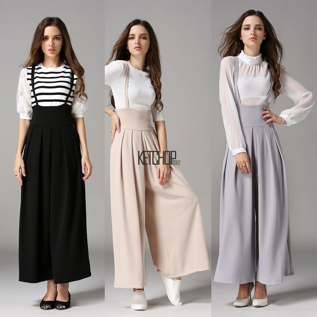 83dfad6bac53 Women Wide Leg Pleated Cross Back Casual Palazzo Suspender Cropped Kecp