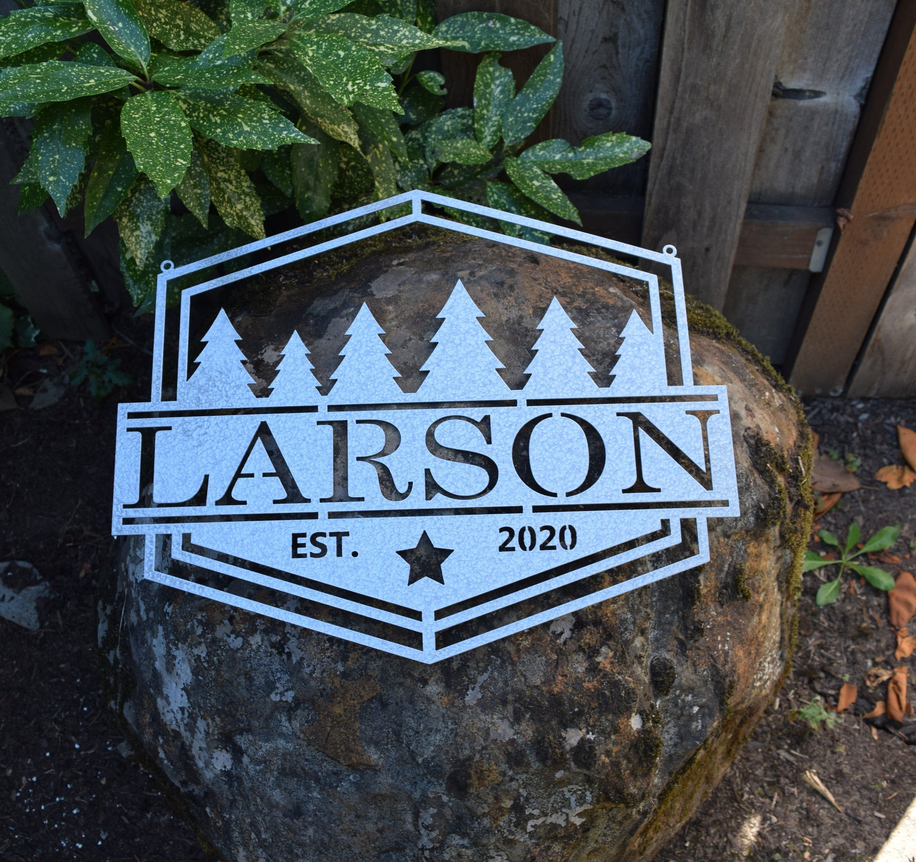Personalized Metal Name and Forest Sign | Custom Metal Name Sign | Custom Metal Sign | Metal Wall Art | Family Name Sign |Vintage Wall Art