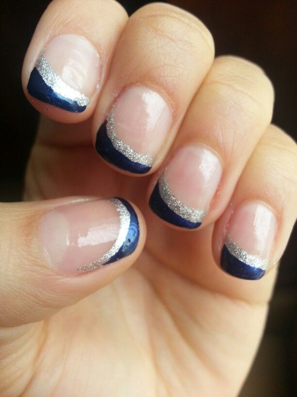 Blue And Silver Glitter Angled French Tip Twist Short Nail Manicure Blue And Silver Nails Silver Nails French Nails