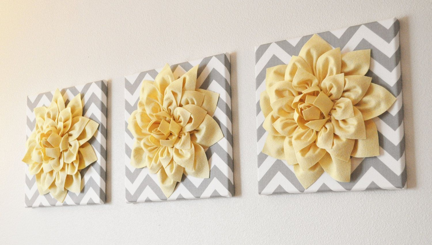 Wall Flower Decor -Coral Dahlia on Gray and White Chevron 12 x12 ...