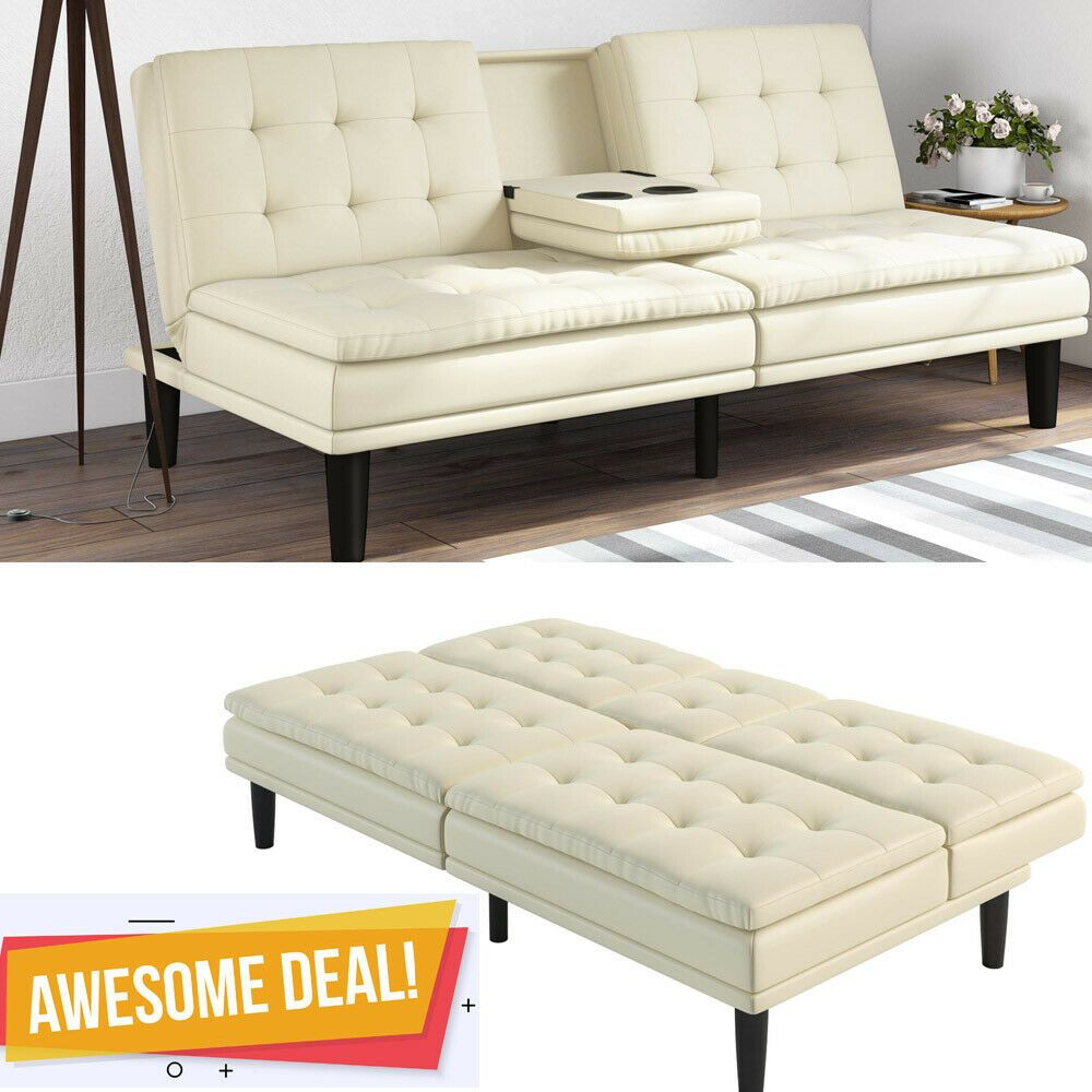 Fine Memory Foam Leather Futon Sofa Bed Couch Sleeper Cup Holder Lamtechconsult Wood Chair Design Ideas Lamtechconsultcom