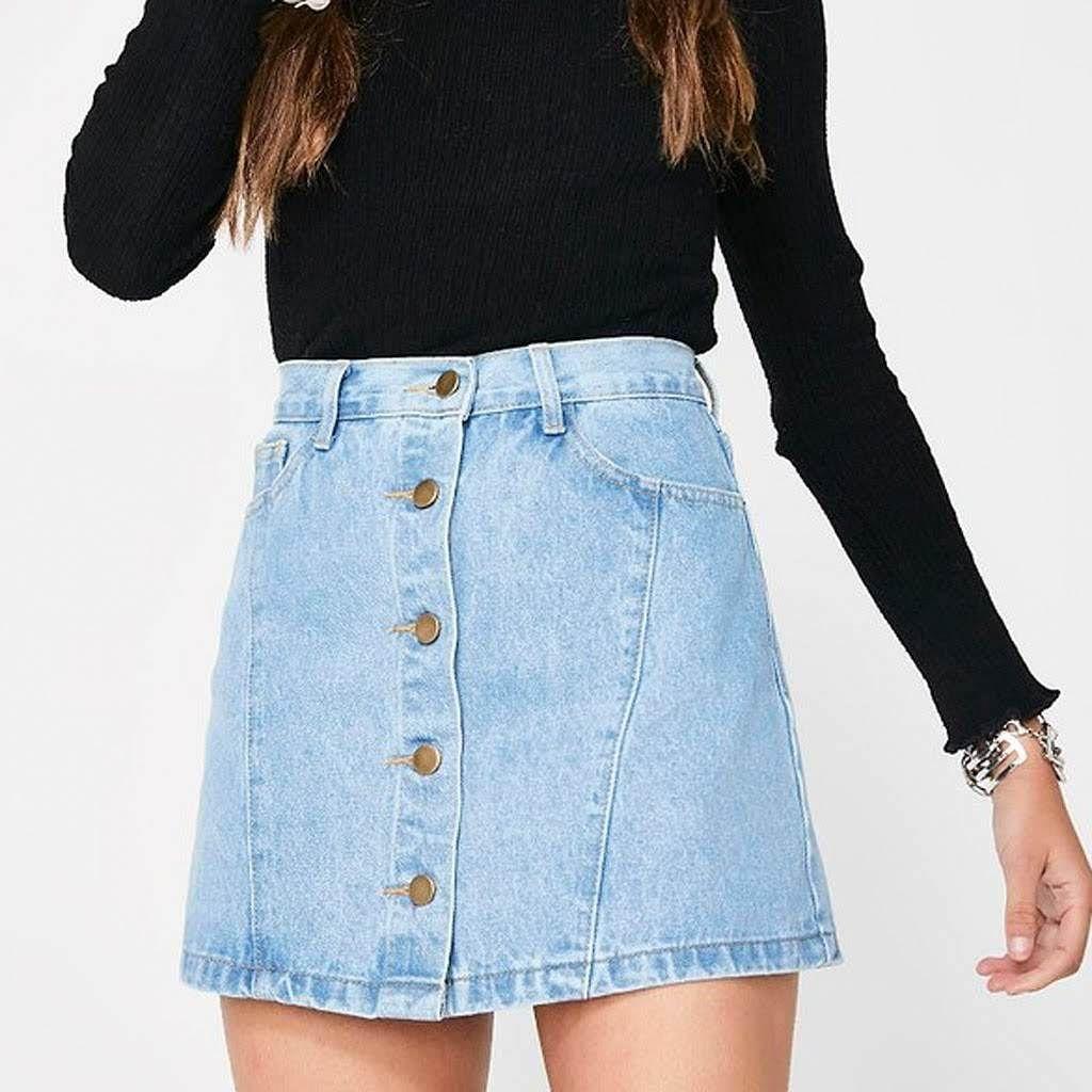 806870fb56fd Denim Button Front A Line Mini Skirt | Saddha