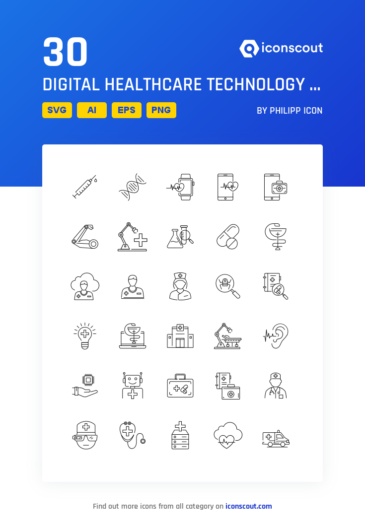 Download Digital Healthcare Technology And Medicine Icon Pack Available In Svg Png Eps Ai Icon Fonts Digital Healthcare Healthcare Technology Health Care