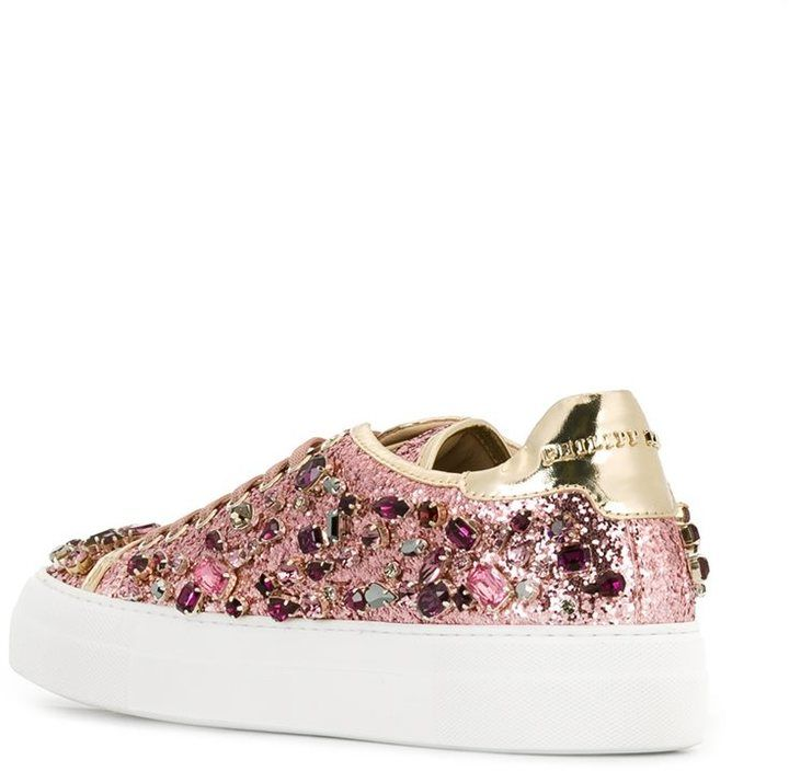Philipp Plein embellished glitter sneakers   Ayakkabılar ve